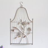 银色铁艺电镀鸟笼-金属装饰用品