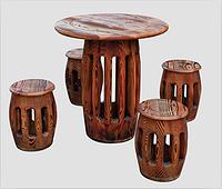 花旗松 碳化仿古桌子 凳子