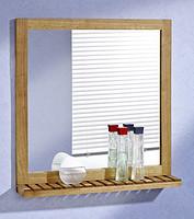 胡桃木镜子 带隔板 浴室镜 化妆镜 实木镜框