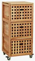 胡桃木 实木 三抽屉柜 可移动橱柜 储物柜