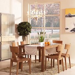曲美家具 餐厅家具 餐厅组合套装 一桌六椅 QMCT008