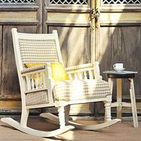 欧式田园复古做旧白色阳台客厅方格布艺摇椅躺椅老上海牛皮摇椅