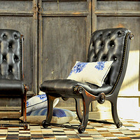 汉资家具老上海复古怀旧实木做旧牛皮休闲阳台躺椅卧室单人沙发椅