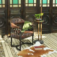 纯实木牛皮 漫咖啡餐椅老上海古典沙发椅子单人黑色皮椅茶椅