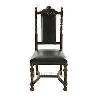 汉资新古典餐椅 欧式复古 老上海酒店咖啡厅餐椅 书房椅子 实木