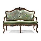 法式古典布沙发传统实木雕花双人中式真丝面料孔雀刺绣布艺小沙发