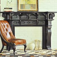 欧式壁炉黑色实木别墅壁炉老上海复古做旧