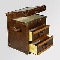 老上海双抽屉牛皮箱子储物箱收纳箱边几美式复古风仿古铜锁扣