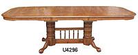 双桶底柱实木餐桌