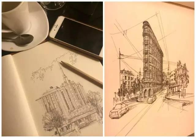 上海老建筑手绘作品