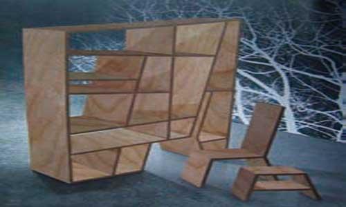 采用的是独特的板式结构,家具造型中线性构件较少,板式家具的设计往往