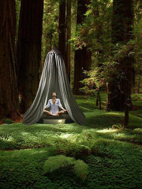 """特别为此次展览设计创作了一个表达东方禅学意境的产品——""""冥想""""空间"""