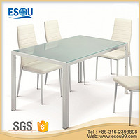 Powder Coating Metal Frame Tempered Glass Dining Table