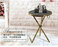 奢华欧式美式全铜小茶几客厅沙发卧室角几边几桌子  圆形黑白红大理石面 竹节简美欧式三角叉