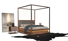 D区卧房组  架子床、床头柜