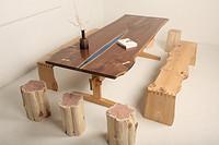 双拼板整木桌台