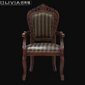 欧式复古做旧实木餐椅美式休闲椅咖啡椅太阳城娱乐棋牌餐厅椅真皮沙发椅子