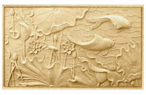 砂岩浮雕壁画鲤鱼