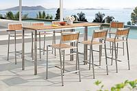 不锈钢柚木吧桌椅