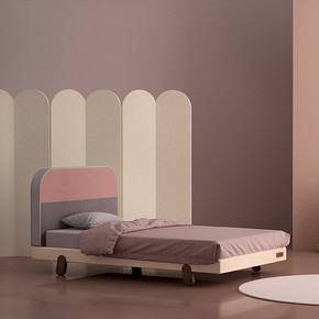 Double Bed冰淇淋布艺床头枫木床 儿童家具实木床单人床双人床