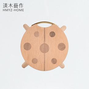 Children's cute ladybug stool stool designer solid wood furniture for shoes bench