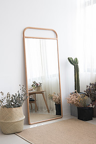 Mirror body mirror home bedroom porch floor modern minimalist Nordic white oak wood