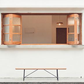 MUMO木墨 简单铁艺长凳子 红橡木长凳 可拆装